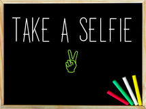 Take a Selfie message and Peace sign Stock Images
