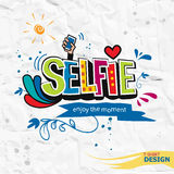 Take a selfie motivation quote color hand-lettering Stock Photography