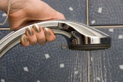 Take a shower. Close view Stock Image