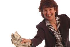 Business woman with money in hand Royalty Free Stock Image