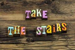Take stairs exercise healthy habits walk run hike. Typography word elevator success work hard financial plan planning time effort leadership royalty free stock image