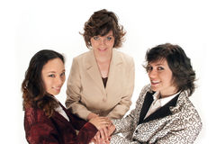 It take team work so we are all in. Three women all in hands on top of each other Royalty Free Stock Photography
