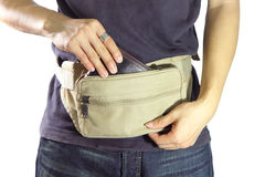 Free Take The Wallet  From Waist Belt Bag Royalty Free Stock Images - 55132909