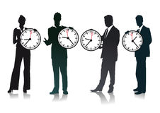 Business people holding clocks Royalty Free Stock Image