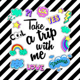 Take a trip with me. Poster, banner  Patch Badges. Vector illustration. design, trendy patches in cartoon 80s-90s comic style. Stock Photo