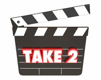 Take 2 Two Second Retry Redo Scene Movie Clapper. 3d Illustration Stock Photography