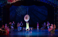 Take the umbrella-Acrobatic showBaixi Dream Night Royalty Free Stock Images