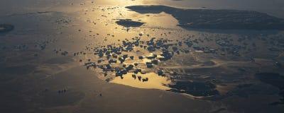 20Take une vue aérienne de la glace et du lever de soleil au-dessus du détroit de Béring ‰ de ¼ du ¼ ˆ1ï d'ï photographie stock