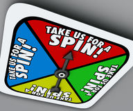 Take Us for a Spin Game Spinner Try Demo Trial Period Test Royalty Free Stock Image