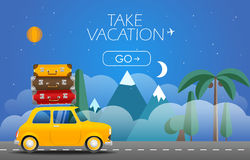 Take Vacation travelling concept. Flat design illustration. Retro car with bags Royalty Free Stock Image