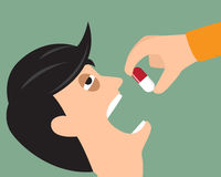 Take your medicine concept. Person puts tablet in mouth. vector Royalty Free Stock Photos