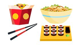 Takeaway Chinese Food Vector. Box Noodles. Chopsticks. Tasty Lunch Menu. Isolated Flat Cartoon Illustration stock illustration