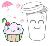 Takeaway coffee. Funny cartoon style Takeaway coffee paper cup and muffin stock illustration
