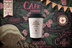 Takeaway coffee ads. Paper cup package in 3d illustration on splendid chalkboard with coffee beans and plants in engraving style royalty free illustration
