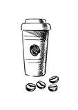 Takeaway coffee cup with beans Stock Image