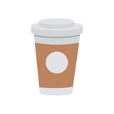Takeaway Coffee Cup with Lid Graphic Modern Icon. Coffee from plastic or paper cup with lid and drink logo on white background. Takeaway hot beverage in vector illustration