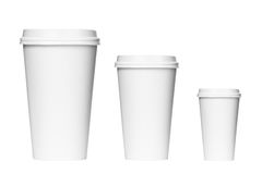 Takeaway coffee packaging. Blank coffee cups isolated on a white background Stock Photo