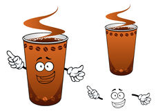 Takeaway cup of coffee cartoon character. Happy takeaway brown hot coffee cup cartoon character decorated with coffee beans, for fast food or drink design royalty free illustration