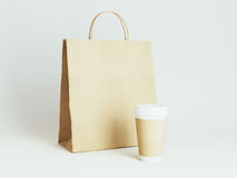 Takeaway cup with package mock up for cafe identity branding. 3d rendering Royalty Free Stock Photo