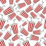 Takeaway cups of sweet soda seamless pattern Royalty Free Stock Image