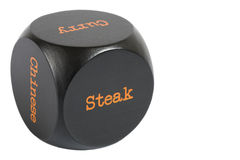 Takeaway Dice. Steak. Cube with meal options isolated on a white background stock photo
