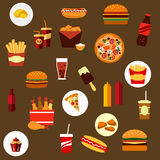 Takeaway and fast food flat icons Royalty Free Stock Photography