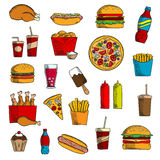 Takeaway and fast food snacks Royalty Free Stock Photo