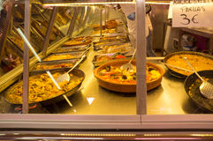 Takeaway food. Assortment of  takeaway Spanish food on a market Royalty Free Stock Photography
