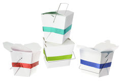 Takeaway Food Boxes. On White Background Royalty Free Stock Photos