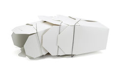 Takeaway Food Boxes. Chinese Restaurant Takeaway Food Boxes Lying on White Background Royalty Free Stock Image