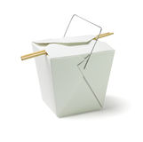 Takeaway Food Container with Chopsticks. Chinese Restaurant Takeaway Food Container with Chopsticks on White Background Royalty Free Stock Images