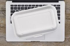 Takeaway Food Container. A studio photo of a takeaway food container Royalty Free Stock Photography