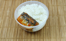 Takeaway food. Rice with Canned fish in a meal box Royalty Free Stock Photo