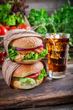 Takeaway fresh burger with cold drink Stock Photography