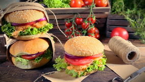 Takeaway hand-packed homemade burgers stock footage
