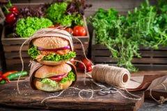 Takeaway homemade burgers Royalty Free Stock Photo