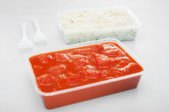 Takeaway Indian Food Meal Curry Chicken Tikka Masala Basmati Rice Stock Photos