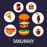 Takeaway jedzenia płaski plakatowy projekt Zdjęcia Royalty Free
