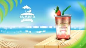 Takeaway kopp för med is jordgubbefruktsaft som förläggas på trägolvet med iskuber, kokosnötbladuppsättning för sommarstrandbakgr stock illustrationer