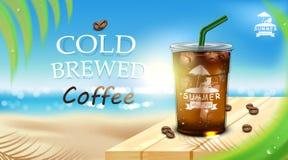 Takeaway kopp för med is kaffe som förläggas på trägolv med iskuber, kaffebönor, kokosnötbladuppsättning för sommarstrandbakgrund royaltyfri illustrationer