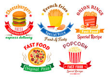 Takeaway meal symbols for fast food design. Colorful cartoon takeaway dishes symbols for fast food design with pizza and cheeseburger, boxes of french fries and royalty free illustration