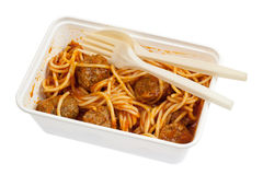 Takeaway meatball spaghetti Royalty Free Stock Photos
