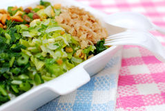 Takeaway packed meal of vegetables. Packed meal with variety of healthy green vegetables. Suitable for concepts such as diet and nutrition, healthy lifestyle Stock Photo