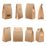 Takeaway paper bags set on white vector illustration. Takeaway paper bags collections on white. Vector poster in realistic design of containers made of carton Royalty Free Stock Photo