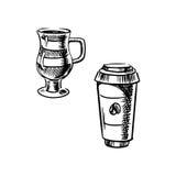 Takeaway papierowa filiżanka i kawowy kubek Zdjęcie Stock