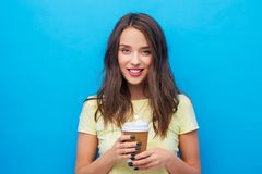 Young woman or teenage girl with coffee cup royalty free stock images
