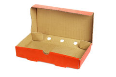 Takeaway pizza box. Rectangular shape takeaway pizza box on white background Stock Images