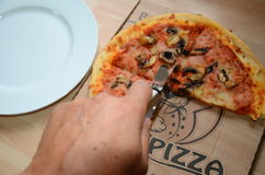 Takeaway pizza stock photography