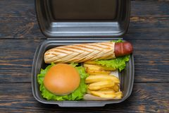 Takeaway sausage dog in a polystyrene container. Takeaway sausage dog in a grilled baguette served with a burger and french fries in a in a disposable stock image
