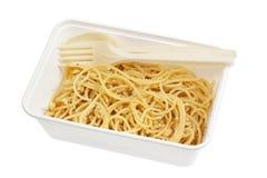 Takeaway spaghetti Aglio e Olio Stock Image